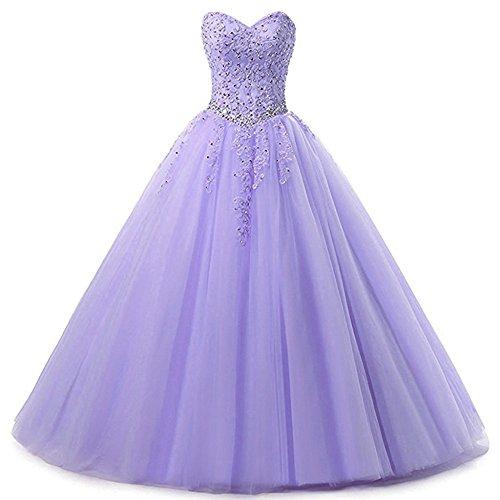 Zorayi Damen Liebsten Lang Tüll Formellen Abendkleid Ballkleid Festkleider Lavendel Größe 32