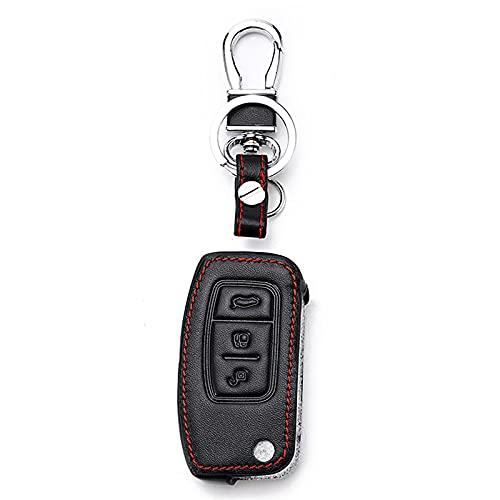 Funda para Llave de Coche Funda Inteligente de Cuero para Llave, Apto para Ford C-MAX Edge Escape Explorer Flex Focus Lincoln MKS MKT MKX, Carcasa para Llave de Coche ABS