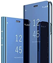 ERIT Clear View Flip Cover, Accessories Clear View Standing Cover for Vivo Y17, Luxury Mirror Clear View Flip Stand Leather Cover for Vivo Y17 - Blue