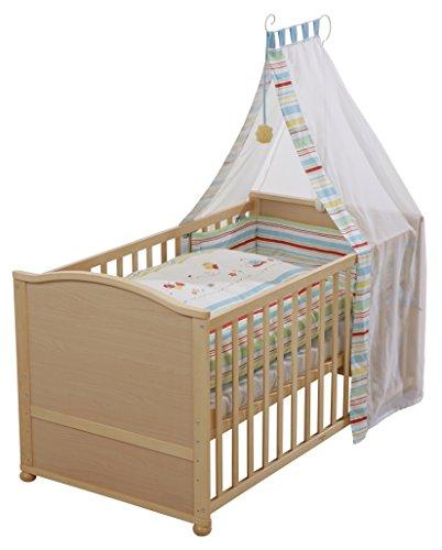 roba Lit bébé avec textiles 'Butterfly', lit bébé en bois naturel, avec linge de lit, ciel de lit, tour de lit et matelas, lit bébé combiné 70x140cm, transformable en lit junior.