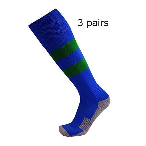 YAOSHIBIAN-Socks Chaussettes de Football pour Enfants Chaussettes rembourrées de Sport pour Enfants 3 Paires de Chaussettes Hautes Non-glissantes au G