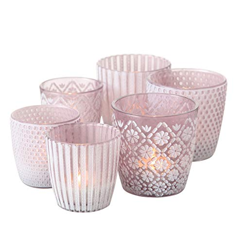 Windlicht Patty 3er Set H7-9cm violett Glas lackiert
