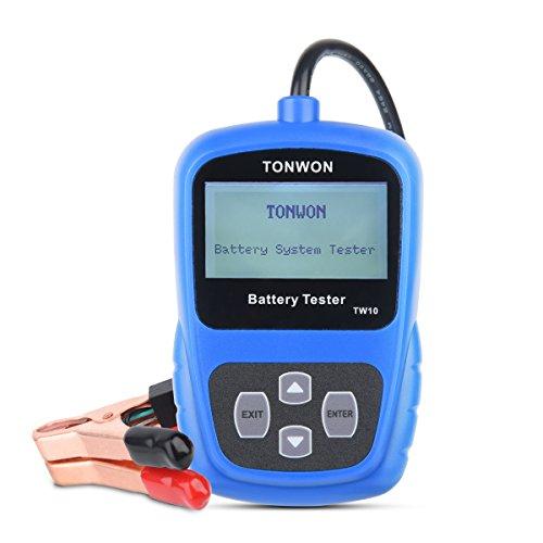 TONWON TW10 12V Caricabatteria di Carica Batteria Auto Accensione e Caricamento Analizzatore diagnostico del Sistema Rileva Direttamente la Batteria scarica