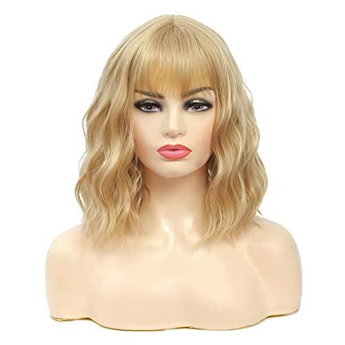 LANSE Natürliche gelockte gewellte Perücke mit Air Blonde Perücke Damen Short Bob Perücke Schulterlänge Hochwertige Synthetische Cosplay Perücke für Mädchen Kostüm Perücken 14 Zoll (Blond)
