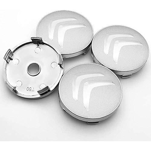 4 Piezas, 60mm, Tapas centrales, para Citroen C4 Aleación Centro Tapacubos con Emblema De Insignia Pegatina
