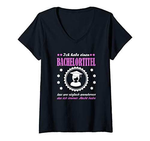 Damen Lustiger Bachelor Spruch Abschluss Geschenk zur Verteidigung T-Shirt mit V-Ausschnitt