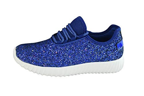 LUCKY STEP Lace up Rock Glitter Fashion Tennis Sneakers Sparkly Lightweight Jogger Shoes for Women/Girl/Kids.(Royal Blue,9 B(M) US)