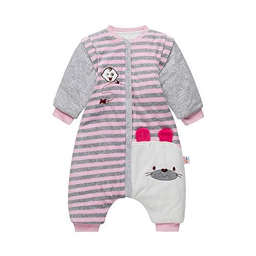 Saco de dormir para bebé con pierna, mangas extraíbles, manta de forro polar para dormir, saco de algodón de 3,5 tog para Todder