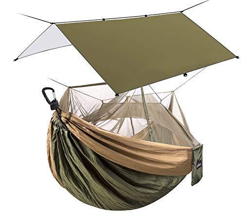 Sunyear Camping Hammock with Mosquito/Bug Net & Sunyear Hammock Rain Fly Tent Tarp Provides Effective Protection Against Rain