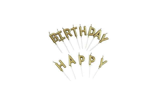 Eshanmu Birthday Letter Cake Candles Gold