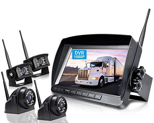 ZEROXCLUB 1080P Wireless Backup Camera System Kit, 9'' DVR Quad Split Monitor & IP69 Waterproof Wireless Reverse Rear Side View Camera with Stable Signal for RV/Truck/Trailer/Bus/Pickup/Van-W904