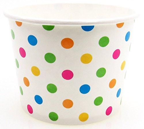 8 oz Paper Ice Cream Cups - 1,000 / Case (Polka Dot)