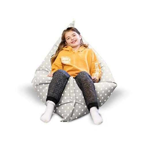 rucomfy Beanbags Stars Indoor Squashy Squarbie Bean Bag. Use as Cushion, Recliner Chair or Lounger. Machine Washable 140 x 110cm Large (Platinum Grey)