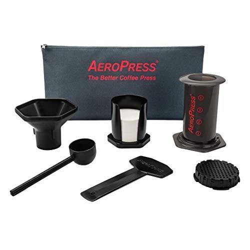 Aerobie AeroPress - Cafetera a presion para cafes y expresos (Incluye Bolsa de Nylon con Cremallera), Color Negro