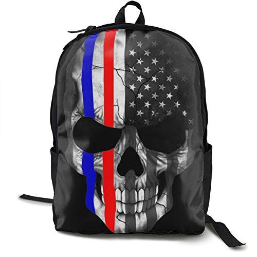 Casual College School Daypack, Sac à Dos de Grande capacité pour la Course au Gymnase, American Thin Red Blue Line Skull Black Travel Sac à Dos de randonnée pour garçons Filles - Cadeau Retour à