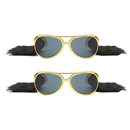 PRETYZOOM 2 Stück Elvis Rockstar Brille Kostüm mit Perücken Bart Koteletten Sonnenbrille für 50S 60S Party Rock Sie Party Begünstigt Cosplay Zubehör