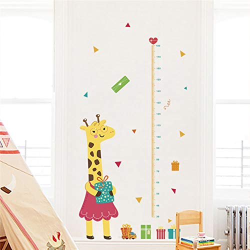 GEYKY Cute Giraffe Height Measure Wall Stickers Bedroom Nursery Home Decor Cartoon Animal Growth Chart Wall Decals PVC Mural Art