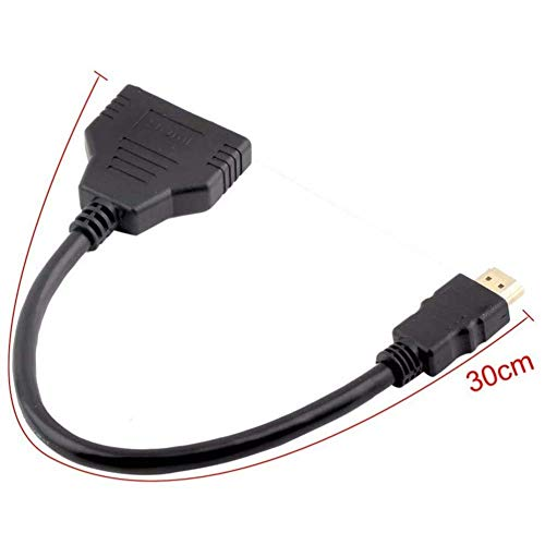 HDMI Cable Splitter 1 in 2 Out HDMI Adapter Cable HDMI Male to Dual HDMI Female 1 to 2 Way, Support Two TVs at The Same Time, Signal One In Two Out
