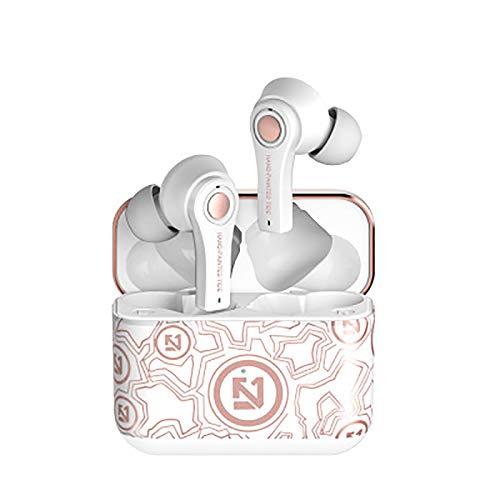 ASLD Graffiti Bluetooth 5.0 Auricolari Wireless, Cassa di Ricarica Impermeabile Cuffie Stereo,in Orecchio Costruito in Auricolare Suono Premium,Supporto Personalizzazione White