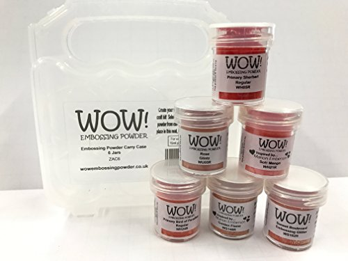 Wow! Embossing Powder and Glitter Desert Orange Sunset Colors 6-Pack Kit and Clear Carrying Case - Bundle 7 Items