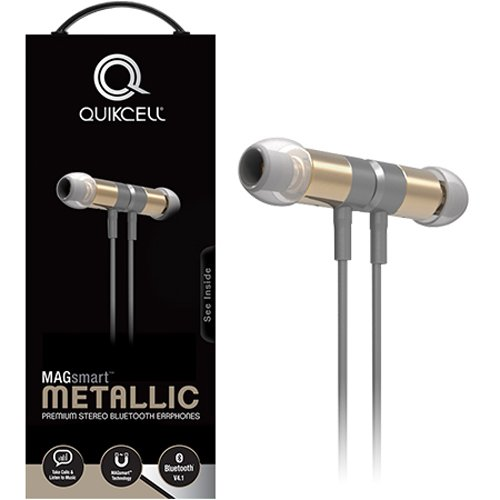 Quikcell Magsmart Full Metal Bluetooth Headset with Unique Play/Pause Controls for Apple & Android - Retail Packaging - Champagne Gold