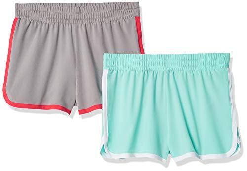 Amazon Essentials Mädchen-Shorts, Active Wear, 2er-Pack, Aqua/Grey, US XL (EU 146 -152 CM)