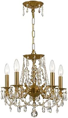 Crystorama 5545-AG-CL-S Crystal Accents Five Light Mini Chandeliers from Gramercy collection in Brassfinish,