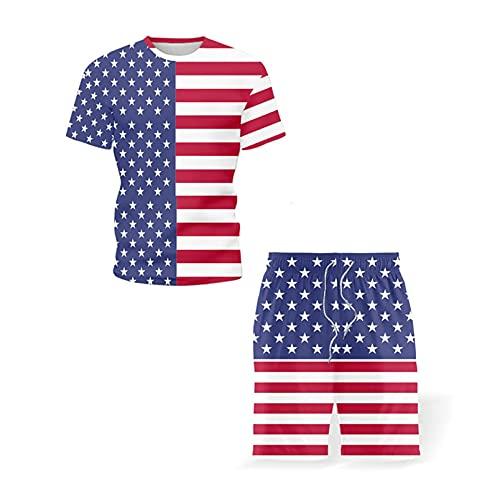 Ropa de Hombre de Moda Bandera de EE. UU. Impresión gráfica Camisetas de Verano Pantalones Cortos Conjunto de Dos Piezas Chándal