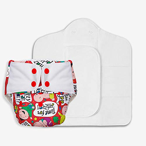 SuperBottoms Freesize UNO - Washable & Reusable Cloth Diaper + 2 Organic Cotton Dry Feel Pads Set [Day & Night Use] (for Babies 5 KG- 17 KG)- Baby Talk