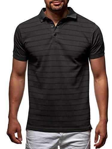 Indicode Herren Crisper T-Shirt mit Rundhals-Ausschnitt aus 100% Baumwolle | Regular Fit Kurzarm Shirt Herrenshirt gestreift O-Neck Sommer Tee Markenshirt Freizeitshirt für Männer Dk Grey M