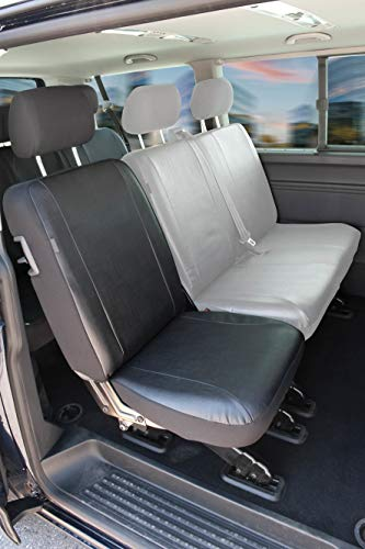 Walser 11458 stoelhoezen voor VW T5 één stoel achter, autostoelhoezen van kunstleer, op maat gemaakt vanaf bouwjaar 04/2003-06/2015