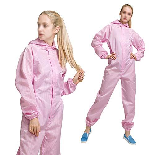 Beschermende Coverall,Elastische manchet en Serged Seams,Effectieve bescherming tegen industrieel stof voor schoonmaakservice, schilderijen, Productie, Roze, S
