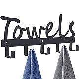 Towel Rack 5 Towel Hooks Wall Mount Towel Holder Black Metal Towel Racks Rustproof and Waterproof for Bathroom Storage Organizer Rack to Hang Your Bathroom Towels, Robes, Clothing (Black)
