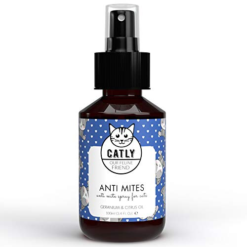 Catly Spray Antiácaros - Antipulgas para Gatos con Aceite de Neem y Aceite de Romero - Alternativa al Collar Antiparasitario Gatos - 100ml