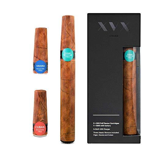 XVX CIGAR - Cigarrillos electrónicos - Recargable - Incluye cartuchos de sabor precargados - Cigarro - Cubano - Habano - 900 bocadas - Cargador USB y cambio de sabor - Cigarrillo Shisha - Sin Nicotina