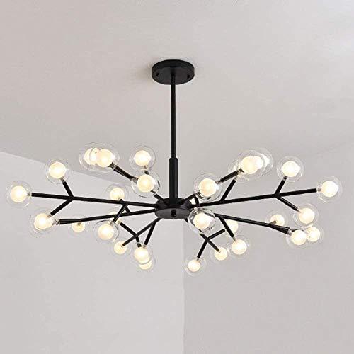 Nordic Sputnik - Lámpara de araña de doble vidrio para lámpara de techo con montaje empotrado para sala de estar, cocina, granja y pasillo (negro, 15 luces, 30 luces, color negro