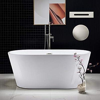 "Woodbridge Acrylic Freestanding Bathtub Contemporary Soaking Tub with Brushed Nickel Overflow and Drain, BTA1514, 59"" B-0014"