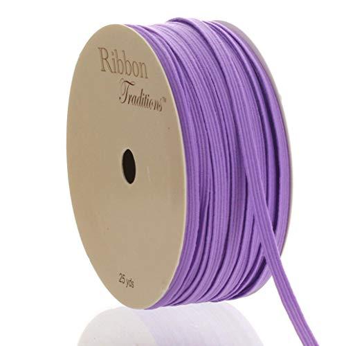 1/8' Width Skinny Elastic Band - Braided Cord - Lavender 5 Yards - USA Warehouse