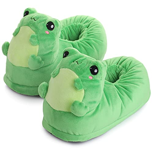corimori - Eddy la rana, zapatillas de estar por casa de peluche, divertidas pantuflas de animales para niños y adultos, talla única 25 a 33,5, color verde