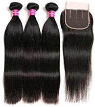 Brazilian Straight Hair With Closure 3 Bundles Unprocessed Virgin Human Hair Bundles With Lace Closure Three Part Hair Extensions Natural Color (10 12 14+8, Three part)
