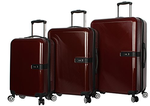 Nicole Miller New York Ria 3-Piece Set Luggage Collection - Lightweight Scratch Resistant (ABS + PC) Hardside Suitcases- Set Includes 20 Inch Carry on, 24 Inch and 28 Inch Checked Bags (Burgundy)