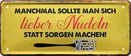 Geschenkeparadies 24 Deko Blechschild 28x12cm Manchmal sollte Man Sich Lieber Nudeln statt Sorgen Machen