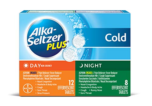 Alka-Seltzer Plus Day and Night Cold Medicine Effervescent Tablets with Pain Reliever/Fever Reducer, 20 Count