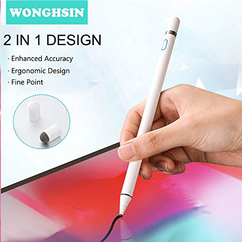 Stylus Pens for Touch Screens iPad iPhone Tablets Cell Phone Drawing, WongHsin Carbon Fiber Fine Point Active Capacitive Pencil with Stylus Pen Holder Mesh Tip Cap Palm Rejection Glove