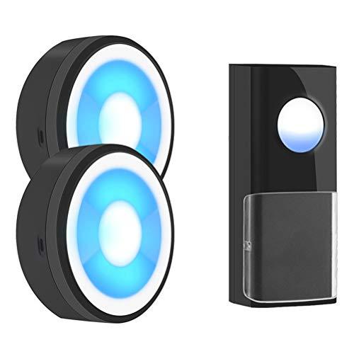 YOUCHOU IP55 USB inalámbrico Inteligente Timbre Timbre Timbre Llamada hogar luz de Noche LED Impermeable (Size : 1Button 2Receiver)