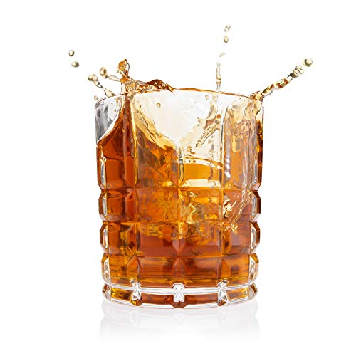 Stud Whiskey Glass, Set of 4 - Classic Majestic Old Fashioned glasses Scotch Glasses - Elegant Heavy Base Scotch, Bourbon and Whisky Glasses