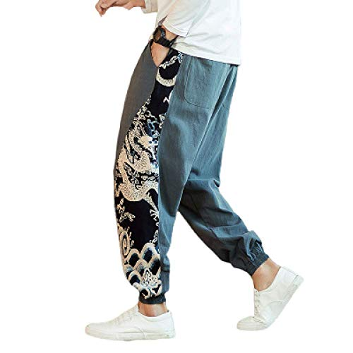 nobranded Pantalon pour Hommes Style Chinois Casual Pantalon de survêtement en Lin de Coton lâche Jogger Couleur Unie Cordon de Serrage Impression personnalisée Sarouel
