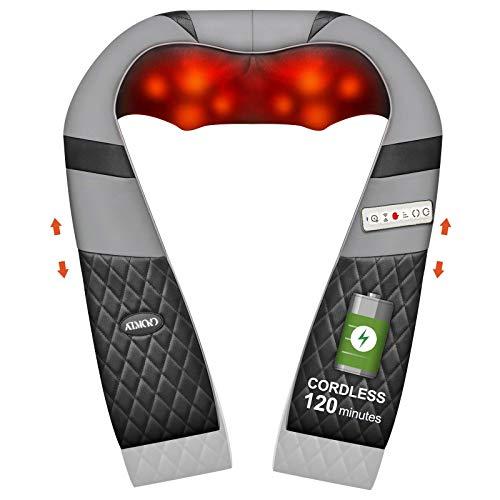 Kabellos Nackenmassagegerät mit verstellbarer Armschlaufe, ATMOKO Shiatsu Massagegerät mit Vibration und Wärmefunktion Elektrische Massagekissen für Schulter Rücken