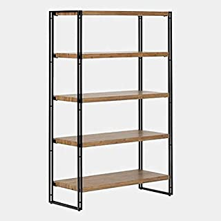 Wire Frame Storage Rack - Shelving Unit with 5 Wood Shelves - Rustic Bamboo