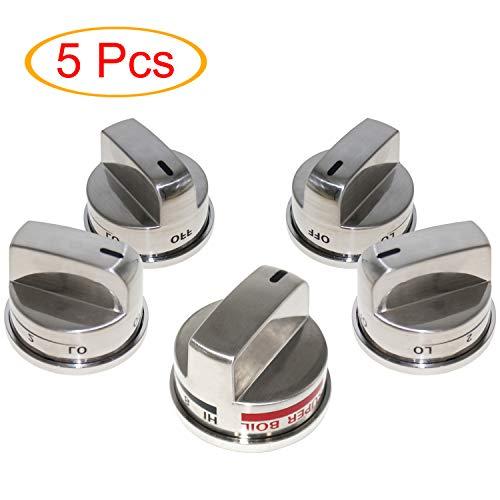 EBZ37189611(4 Pack) & EBZ37189609(1 Pack) Super Boil Knob Burner Range Control Knob Kit for LG Range Oven Gas Stove Knob Only Fits for LG LRG30355ST, LRG30357ST, LRG30855ST Gas Range